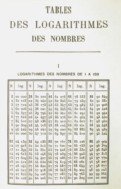 table des logarithmes